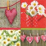 【ナプキン】 Hearts and Daisies