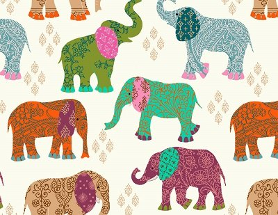 画像1: PATCHWOR ELEPHANTS (L)
